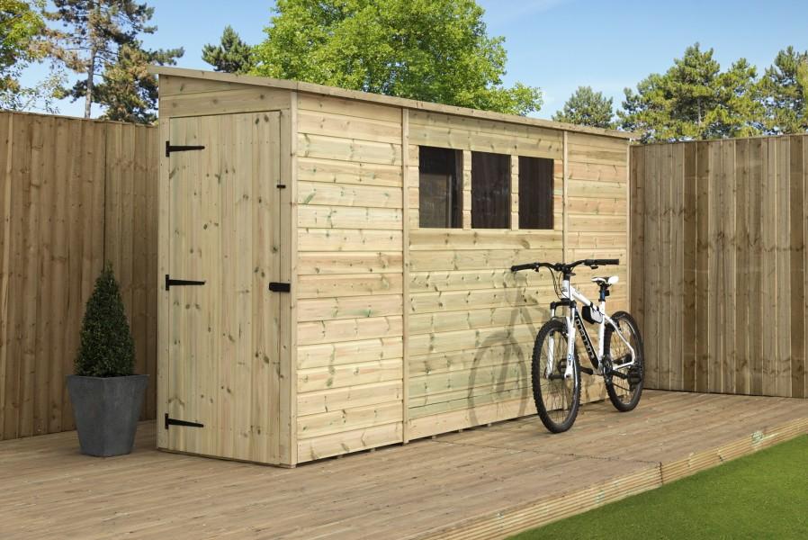 Empire 2800 pent garden shed for Narrow garden sheds